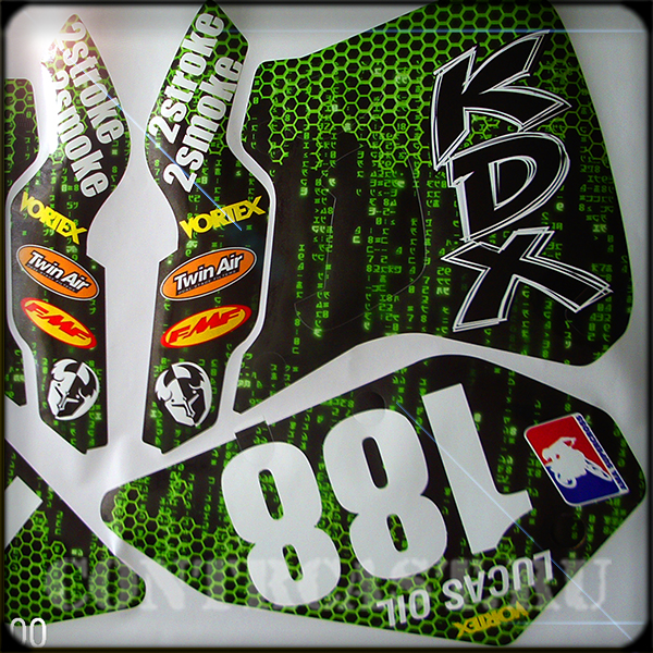 Sticker set on motorcycle kawasaki KDX250