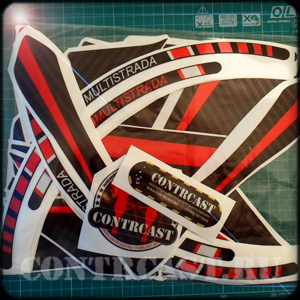 Sticker of set on motorcycle Ducati 1200S Multistrada